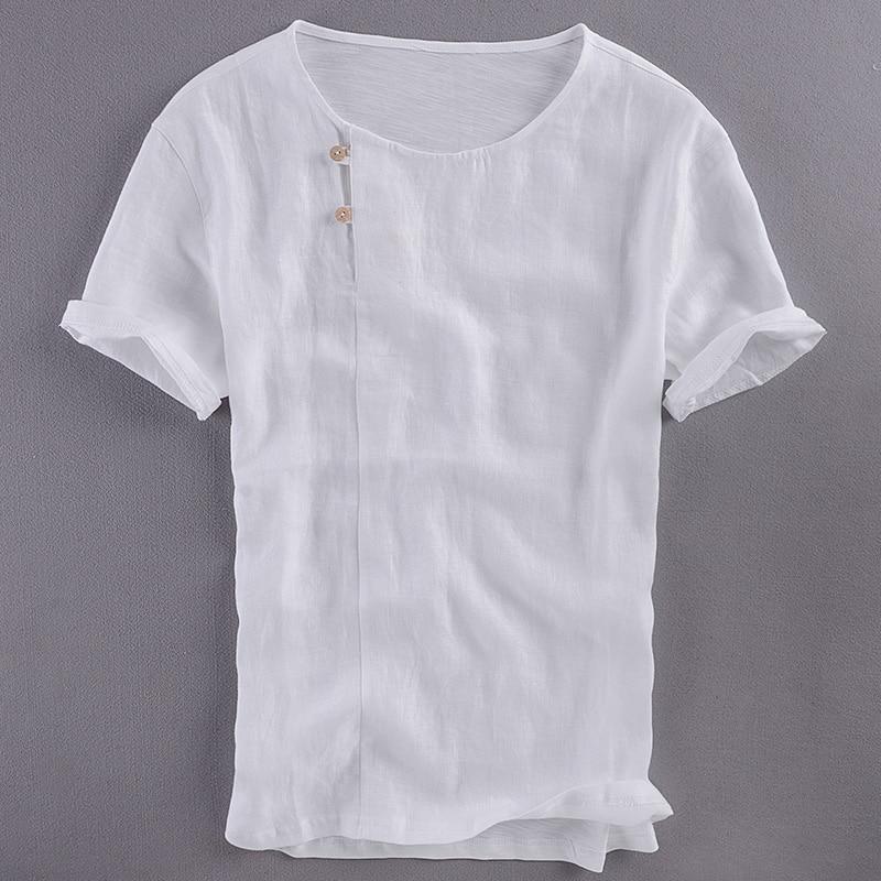 Chinese style Suehaiwe's brand short sleeve linen t-shirt men solid white summer t shirt mens unique design tshirt men camisa