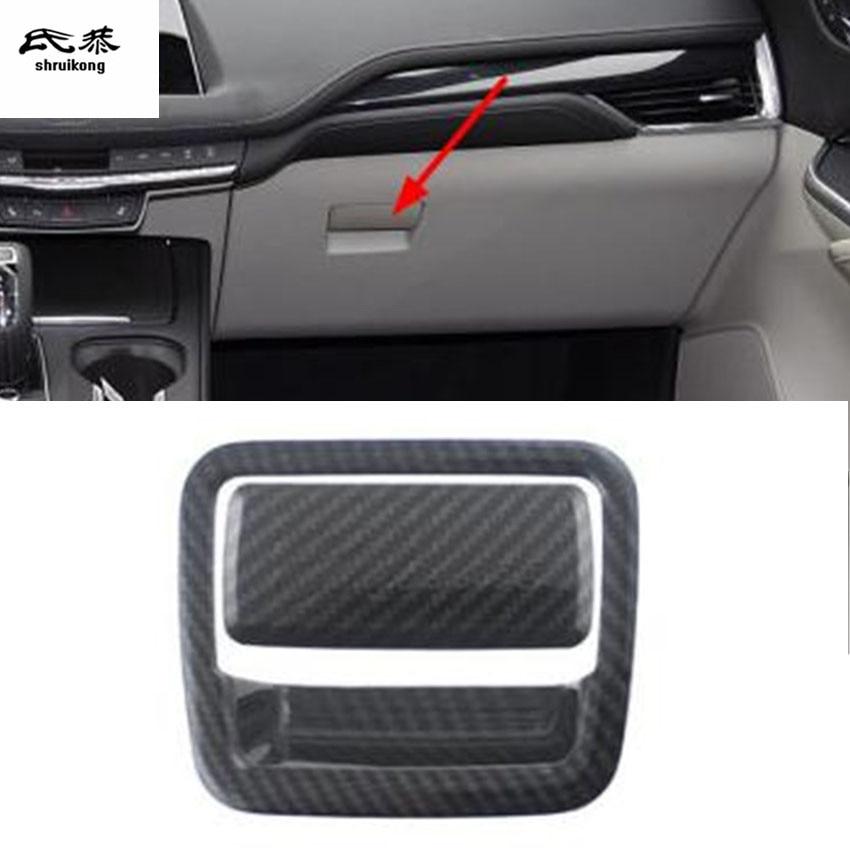 2pcs/Lot Car Sticker ABS Carbon Finber Grain Passenger Side Glove Box Switch Decoration Cover For 2018 Cadillac XT4