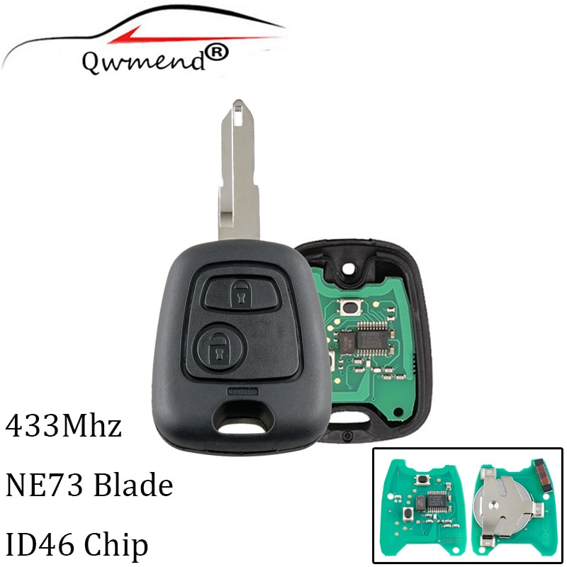 2 Buttons NE73 Blade Remote Key Fob Controller For PEUGEOT 206 433MHZ With PCF7961 Transponder Chip