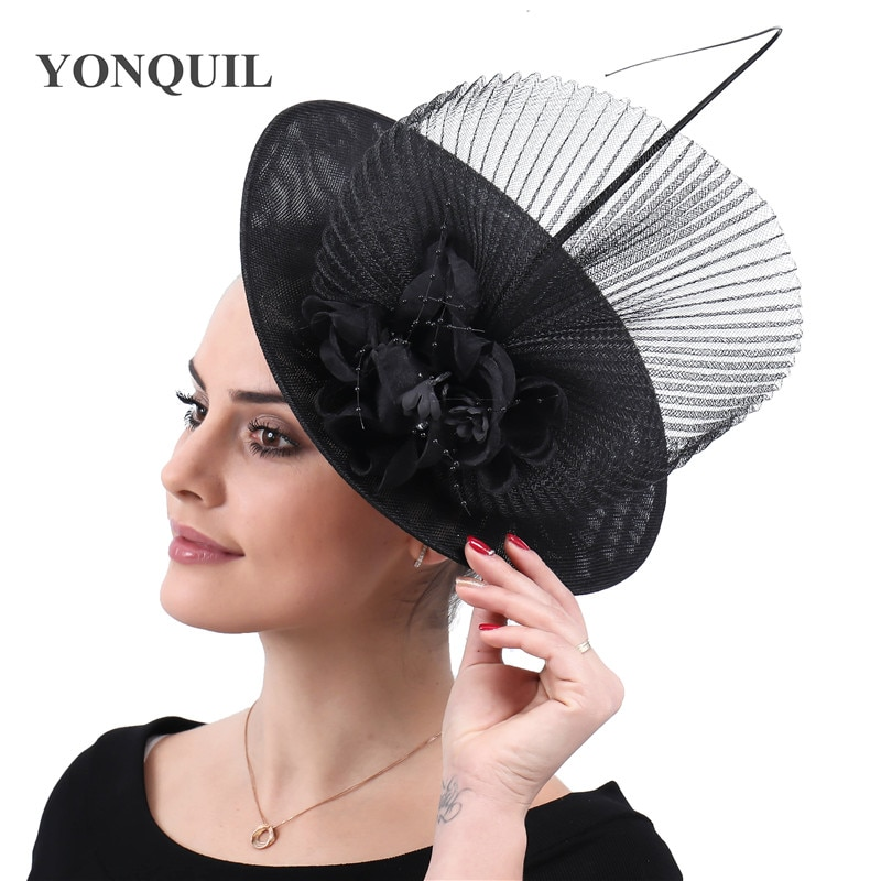 قبعات زفاف للنساء ، أسود ، Derby Kenducky ، ساحر ، فتحة شعر أنيقة ، مقاطع شعر للعروس ، غطاء رأس شبكي بمشبك شعر