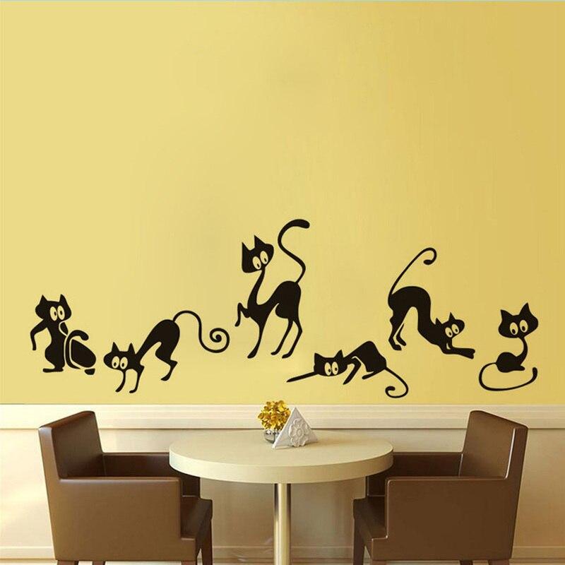Engraçado Gato Preto Animais Adesivo de Parede Sala de estar Fundo para Home Decor Mural Art Decalques Papel De Parede Linha De Cintura Adesivos LW146