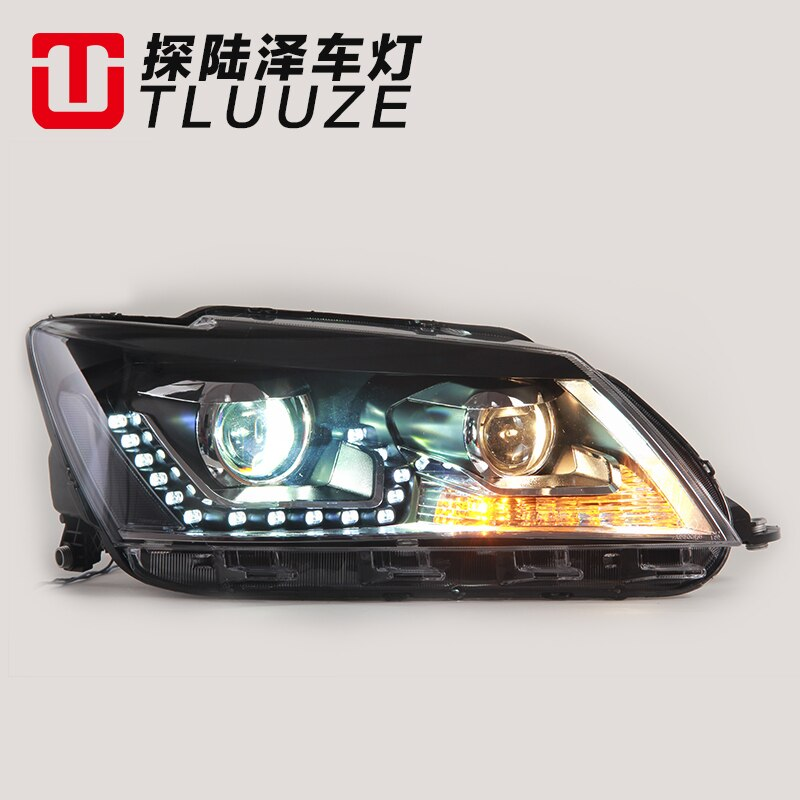 Car Styling LED Head Lamp for VW Santana headlights 2013-2015 Santana led headlight led drl H7 hid Q5 Bi-Xenon Lens low beam