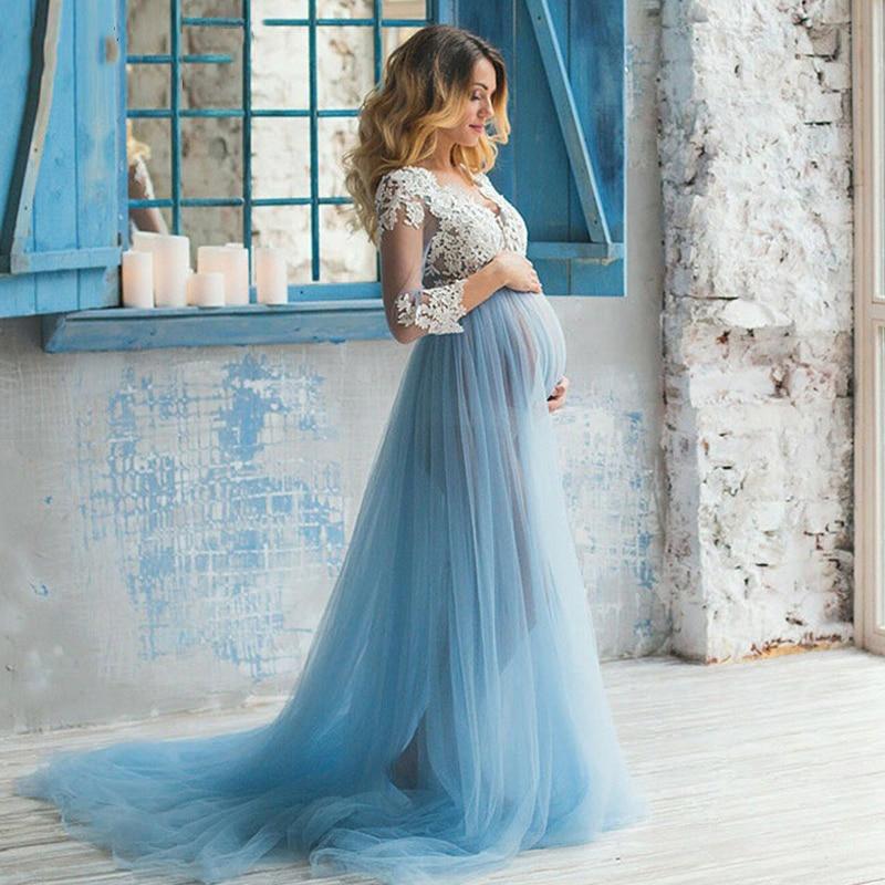 Verngo Свадебные платья для беременных, свадебное платье в стиле бохо, синее кружевное Тюлевое платье с аппликацией и длинным рукавом, свадебн...