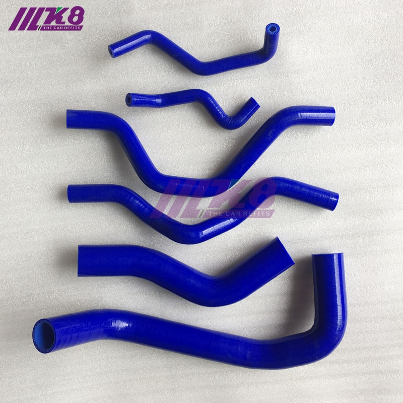 Silikon Kühler Schlauch Kit Für MITSUBISHI LANCER VIRAGE 00- MT (6PCS) rot/blau/schwarz