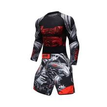 New UFC BJJ MMA Work Out Compression Rashguard T shirt Men VS PK GYMS Exercise 3D Fitness Tights Bodybuild  Rash Guard