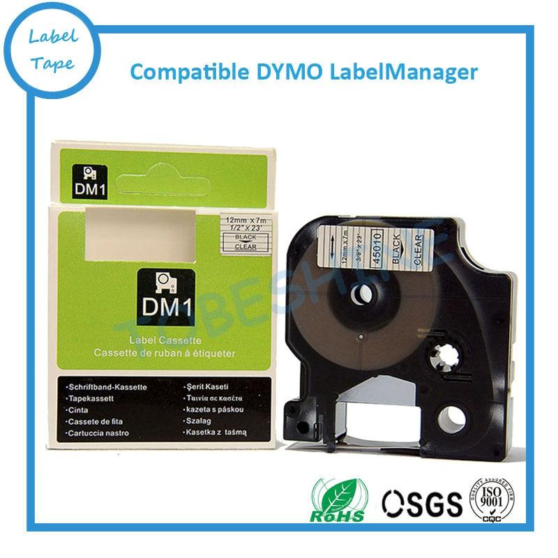 Dymo labelmaster-خرطوشة شريط 12 مللي متر D1 ، 10pk ، أسود على شفاف ، 45010 ، d1