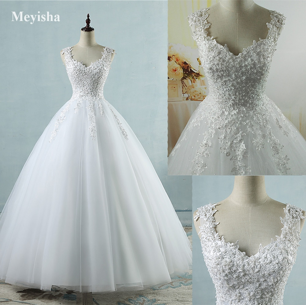 Ball Gowns Spaghetti Straps White Ivory Tulle Bridal Dress For Wedding Dresses 2020 2021 Pearls Marr
