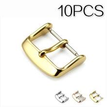 10 pièces montres accessoires montre boucle argent or noir acier inoxydable bracelet de montre fermoir montre-bracelet 16mm 18mm 20mm 22mm