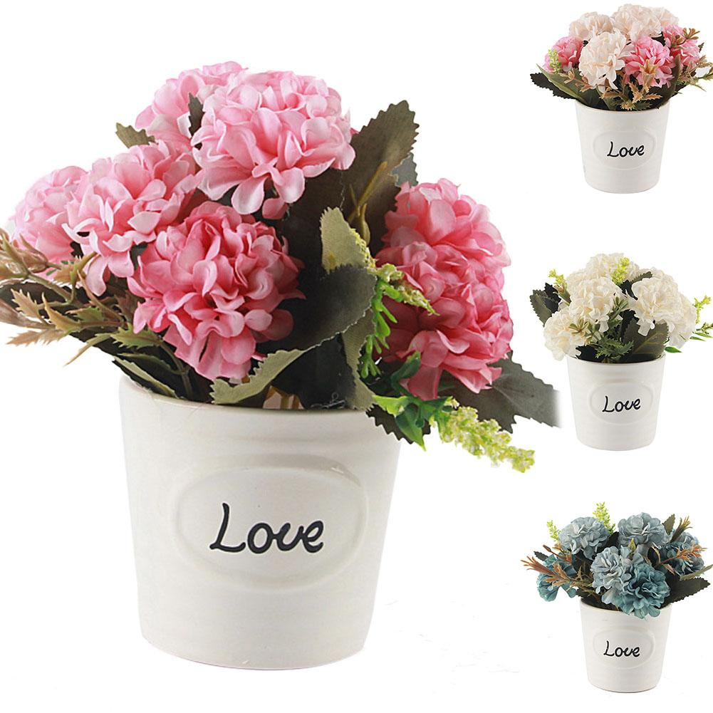 1Pc Artificial maceta de cerámica para flor amor Bonsai bricolaje jardín Oficina escritorio Decoración