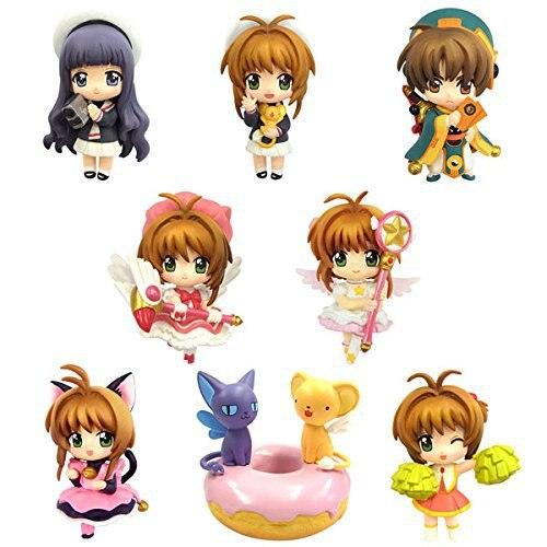 8 pc/set anime cartão captor sakura pvc figuras brinquedos kinomoto sakura daidouji tomoyo li syaoran kero anime figuras modelo coleção