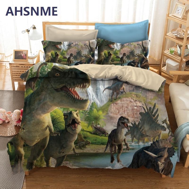 AHSNME-طقم أغطية سرير بنمط ديناصور ، طقم سرير بنمط T-Rex ، منسوجات منزلية مفضلة للأولاد ، مقاس متعدد البلدان لـ AU/US/EU/RU