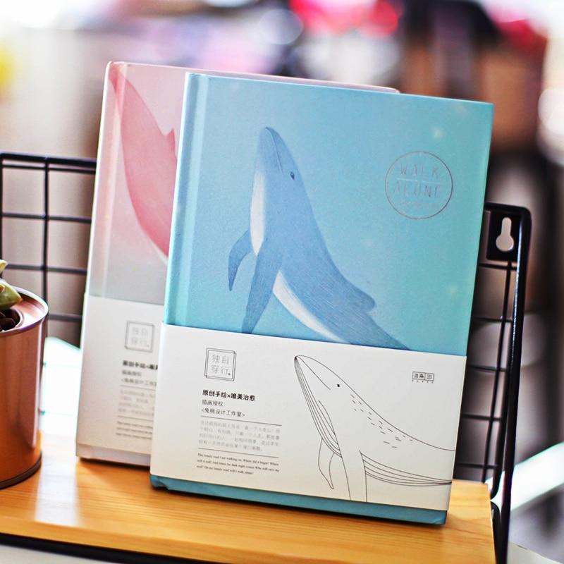 """Cuaderno de tapa dura """"Travel Alone v.2"""" bonito cuaderno de ballena bonito diario Bloc de notas de estudio papelería regalo"""
