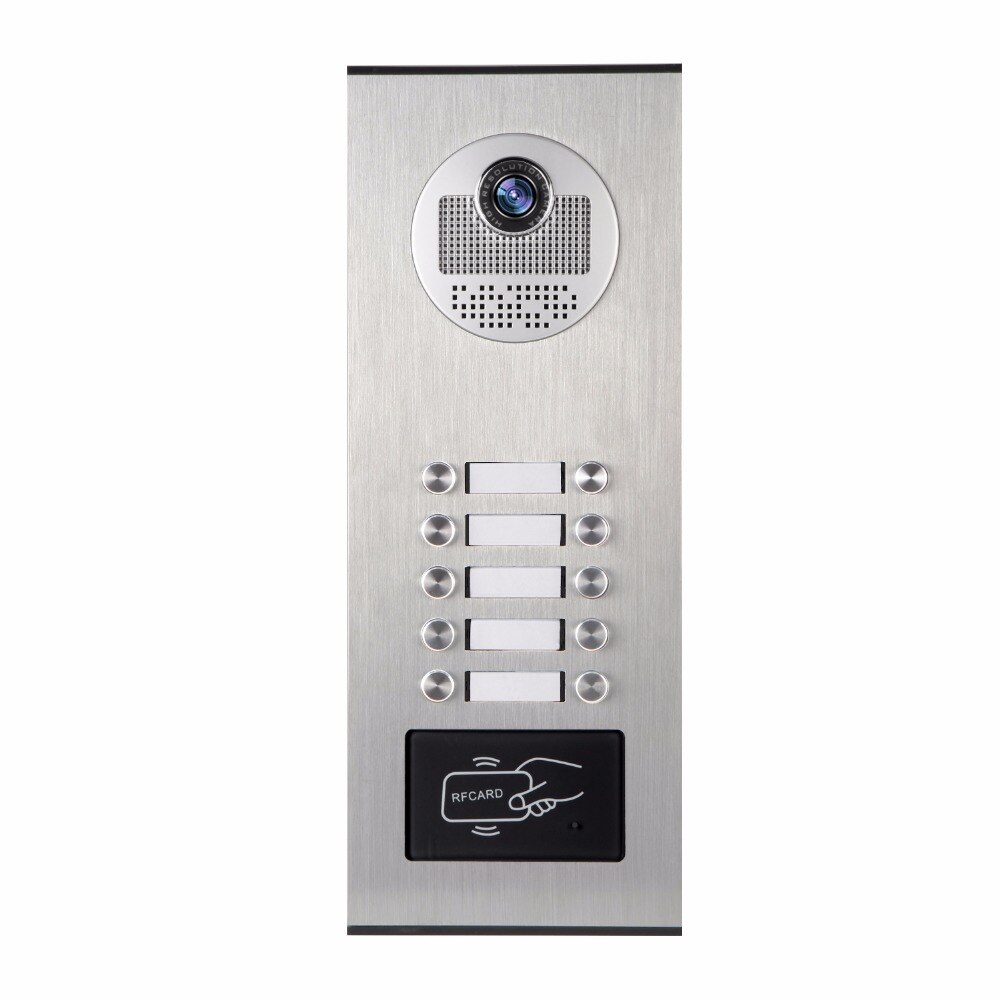 SmartYIBA-جرس باب بالفيديو لشقة ، 10 وحدات ، رؤية ليلية بالأشعة تحت الحمراء 1000 TVL ، كاميرا خارجية للبناء ، الاتصال الداخلي ، دعم RFID