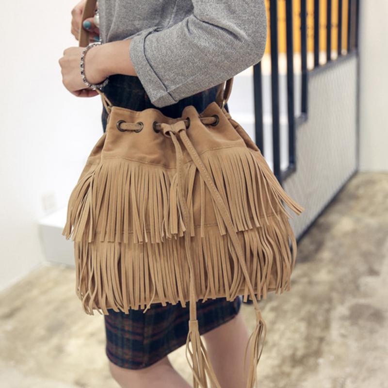 Mujeres bolsas de hombro, Vintage Bolsa de borlas Retro imitación de flecos de gamuza bolsas de mensajero bolso Crossbody Bolsa femenina