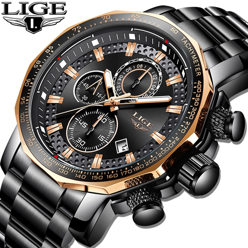 Relogio Masculino LIGE New Sport Chronograph Mens Watches Top Brand Luxury Full Steel Quartz Clock W