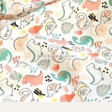 South Korea imported plain  fabric, digital printing cute little dinosaur costume dress baby clothes