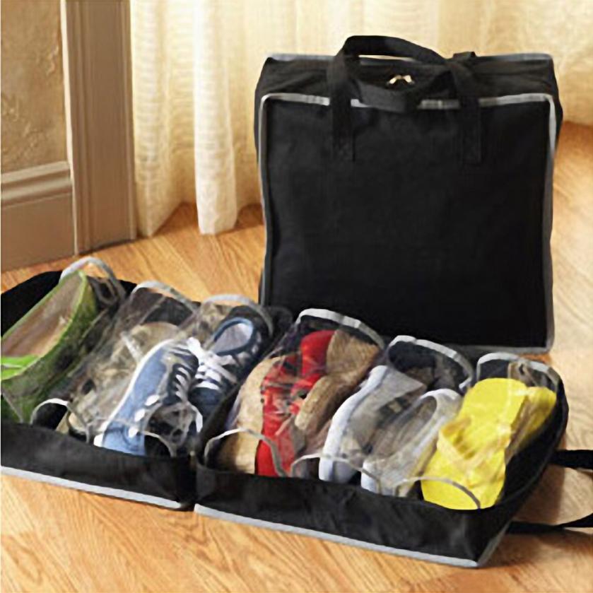 Urijk portátil bolsas para almacenar calzado tela no tejida 6 redes zapatos caso cajas de polvo bolsas para almacenar calzado vino rojo y negro