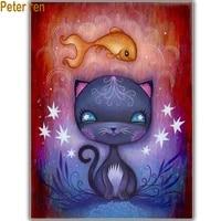 peter ren diy diamond painting cross stitch kit anime 5d round diamond mosaic full icon diamond embroidery cartoon cat and fish