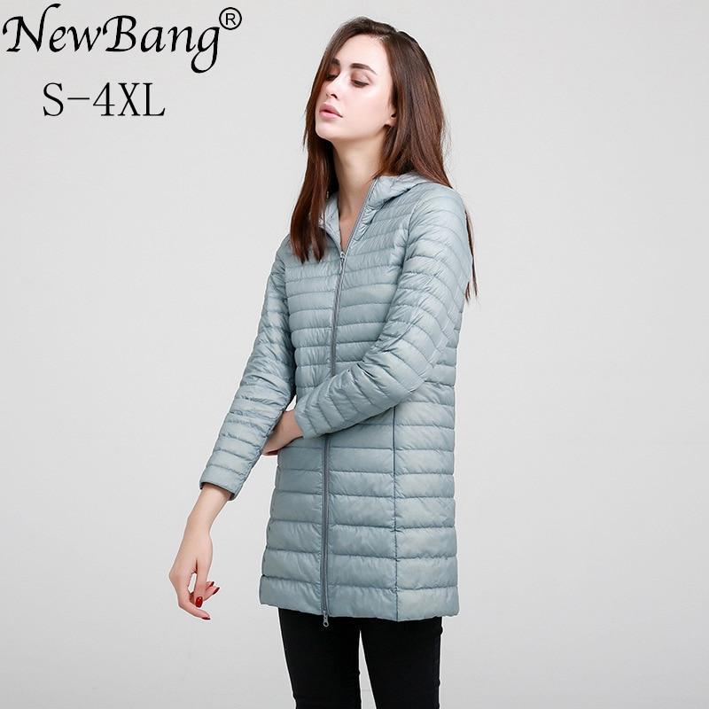 Marca newbang, Chaqueta larga para mujer, abrigo cálido de Invierno para mujer, chaqueta de plumón blanca ultraligera, abrigos rompevientos delgados para mujer