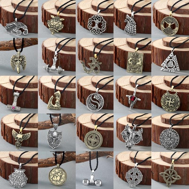 2019 nórdico vikingo collar mujeres símbolo eslavo amuletos Kolovrat Cruz plateada antigua martillo colgante hombre collar joyería
