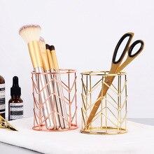 2 farben Make-Up Lagerung Box Zylindrischen Fall Lagerung Lippenstift Pinsel Stift Halter Organizer Eisen