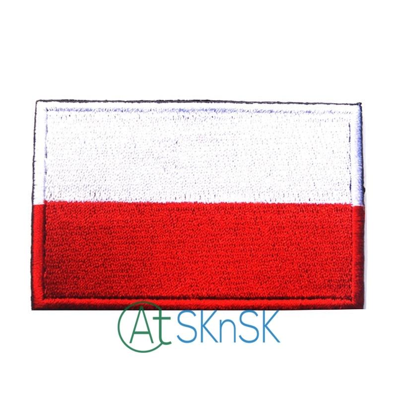 5 unids/lote parche bordado BadgeTactical polaco 3D táctico parches de bandera nacional para ropa gorra bolsa Drapeau de la Pologne