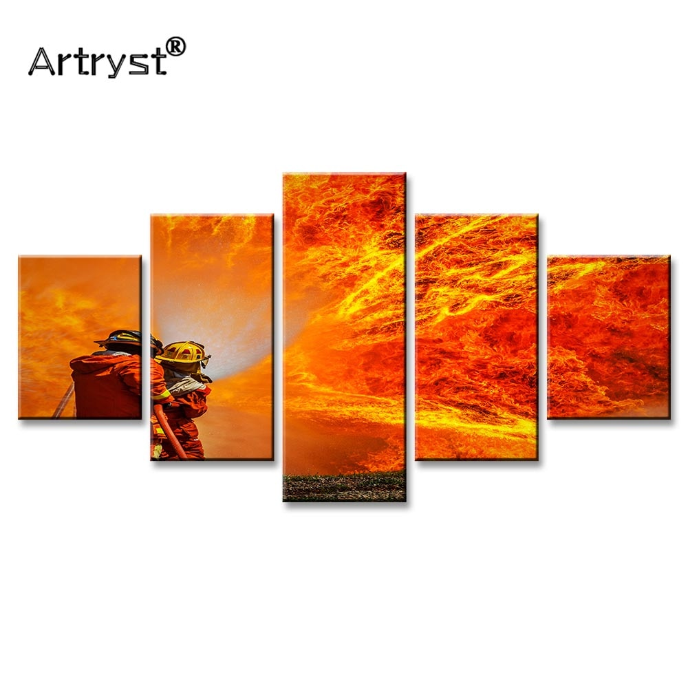 Arte moderno de 5 piezas de artrist lienzo pintura bombero cartel de lucha contra incendios impresión HD en lienzo cuadro Modular para sala de estar