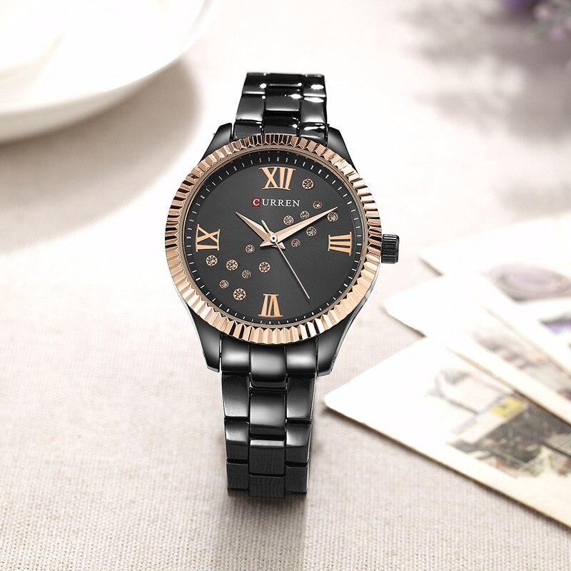 relogio feminino 9009 Curren Womens Watches Top Brand Luxury Gold Black Quartz Watch Waterproof Full Steel Ladies Dress Watches enlarge