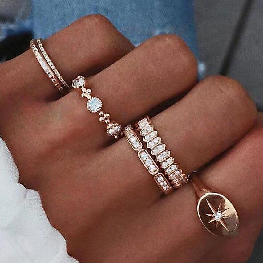 Conjuntos de anillos para dedos de mujer, de moda, de varias piezas, cristal dulce de gota de agua, estilo bohemio, conjuntos de anillos para mujer, regalo de joyas de fiesta