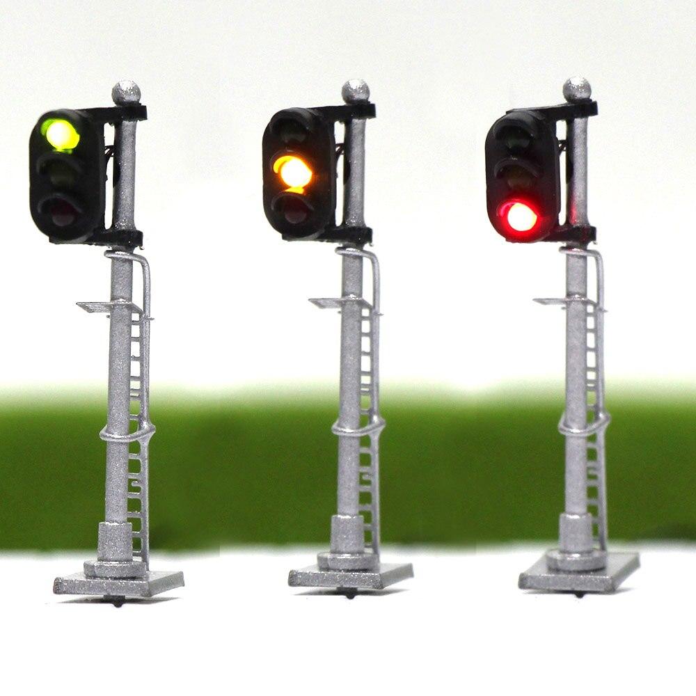 JTD1503GYR 3PCS Model Railway 1:150 Train Signals 3-Lights Block Signal N Scale Silver Post with Ladder 3.5cm Green Yellow Red