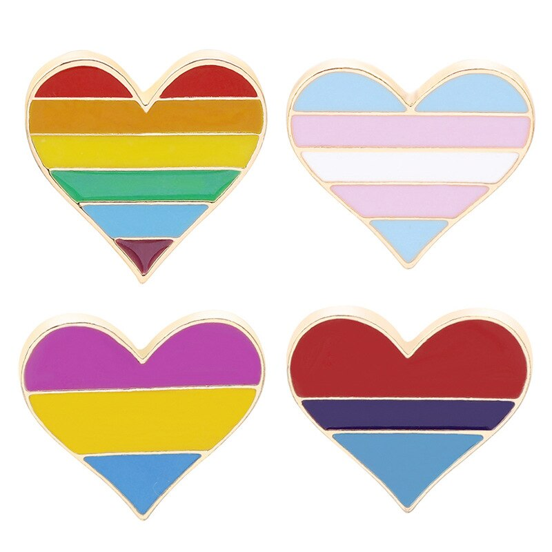 Orgulho arco-íris bandeira metal crachá apoio gay lésbica bissexual transgênero símbolo pino lgbt ícones rozet broche coração