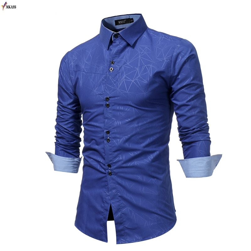 MKASS hombres Camisa hombres negocios Casual camisas 2019 nueva llegada hombres famosa marca ropa impresión manga larga Camisa Masculina