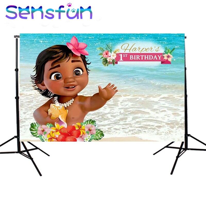 SXY1409 vinilo recién nacido Photocall Gilrs Baby Moana personalizado cumpleaños fondo de estudio de fotografía telón de fondo 5x3ft
