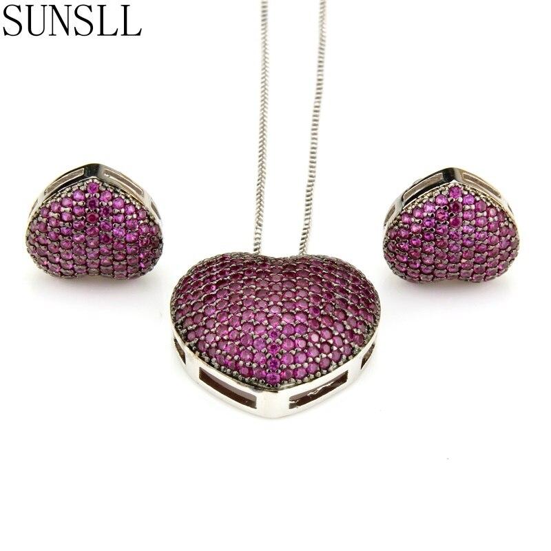 Женские медные серьги с сердечком SUNSLL, Разноцветные серьги с цирконием кубической огранки и кулоном