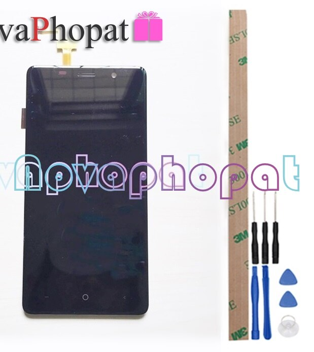 Novaphopat, Pantalla Completa negra/dorada/Bravis A504 blanca para, Sensor digitalizador de pantalla táctil de cristal Trace con montaje de pantalla LCD