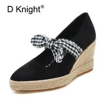 Spring Summer Women Shoes Fashion Women Platform Pumps Sweet Bow High Heel Sneakers Shallow Casual Women Wedges Plus Size 33-41