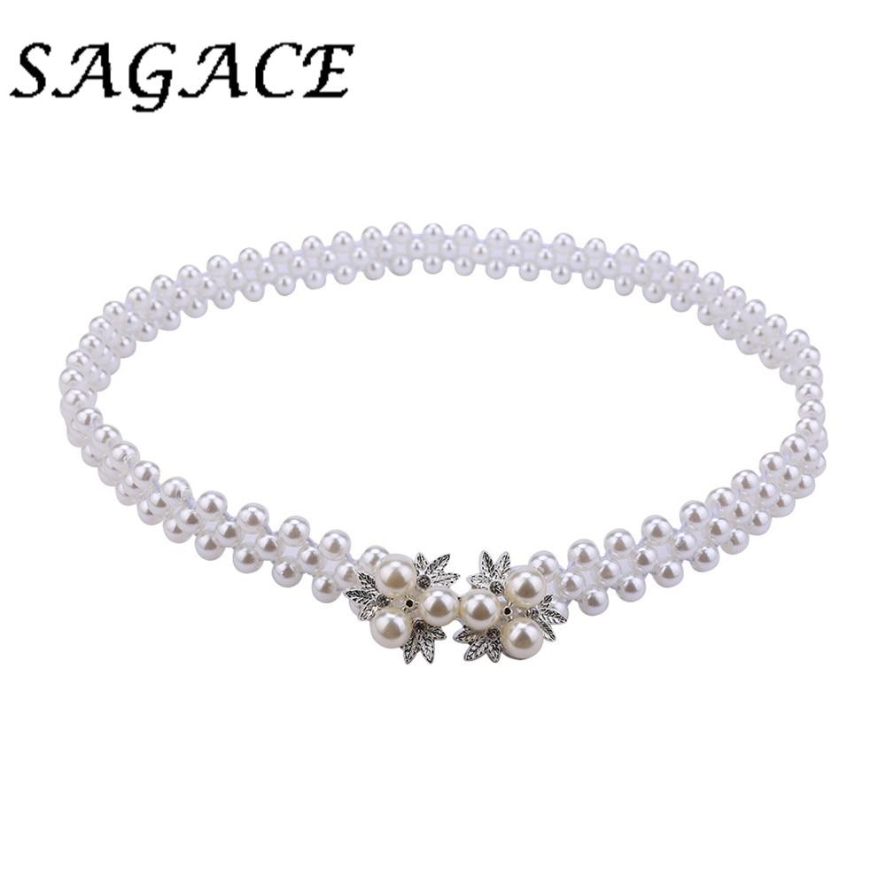 SAGACE Blets women Pearl thin belts waist vintage ladies dress belt summer Fashion elegant ladies solid waist buckle-free belt