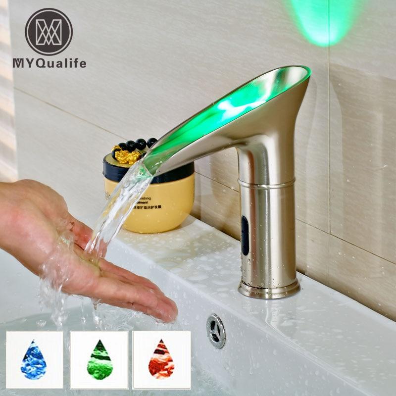 Luz Led de lujo para ahorro de agua, luz Led para lavabo, grifo mezclador automático para lavabo, grifo con Sensor de cascada