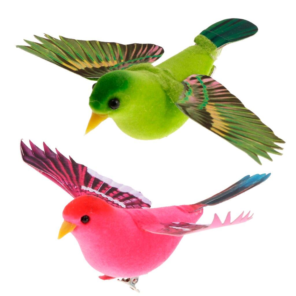 Extensión de vientos, Pájaros de espuma con plumas artificiales, para el hogar esculturas de jardín, decoración de boda, decoración de jardín para el hogar