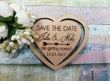 Aimants de mariage personnalisés en forme de cœur   Cadeaux de mariage, aimant rustique en bois, gravé sauver la Date, avec flèche sauver la Date