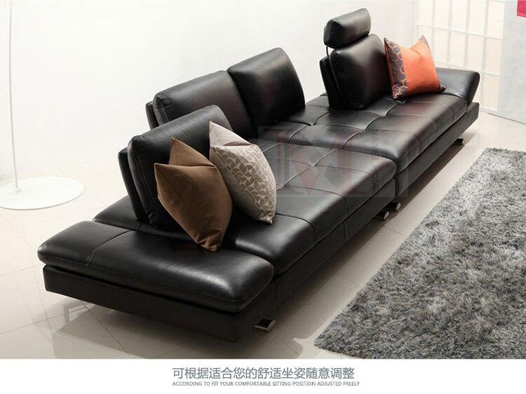 Sofá de piel auténtica, sofá de esquina para sala de estar, muebles para el hogar, sofá de 4 plazas, respaldo funcional, pata moderna de acero inoxidable