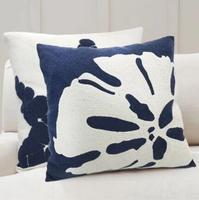 Nordic Mediterranean deep blue cotton canvas embroidered cushion cover 45X45 sofa pillowcase decorative pillow cover for cushion