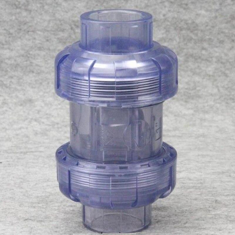1 Uds. Tipo de enchufe diámetro interior 20mm a 63mm doble unión nueva válvula de retención de alta tecnología hecho plástico transparente válvula de retención