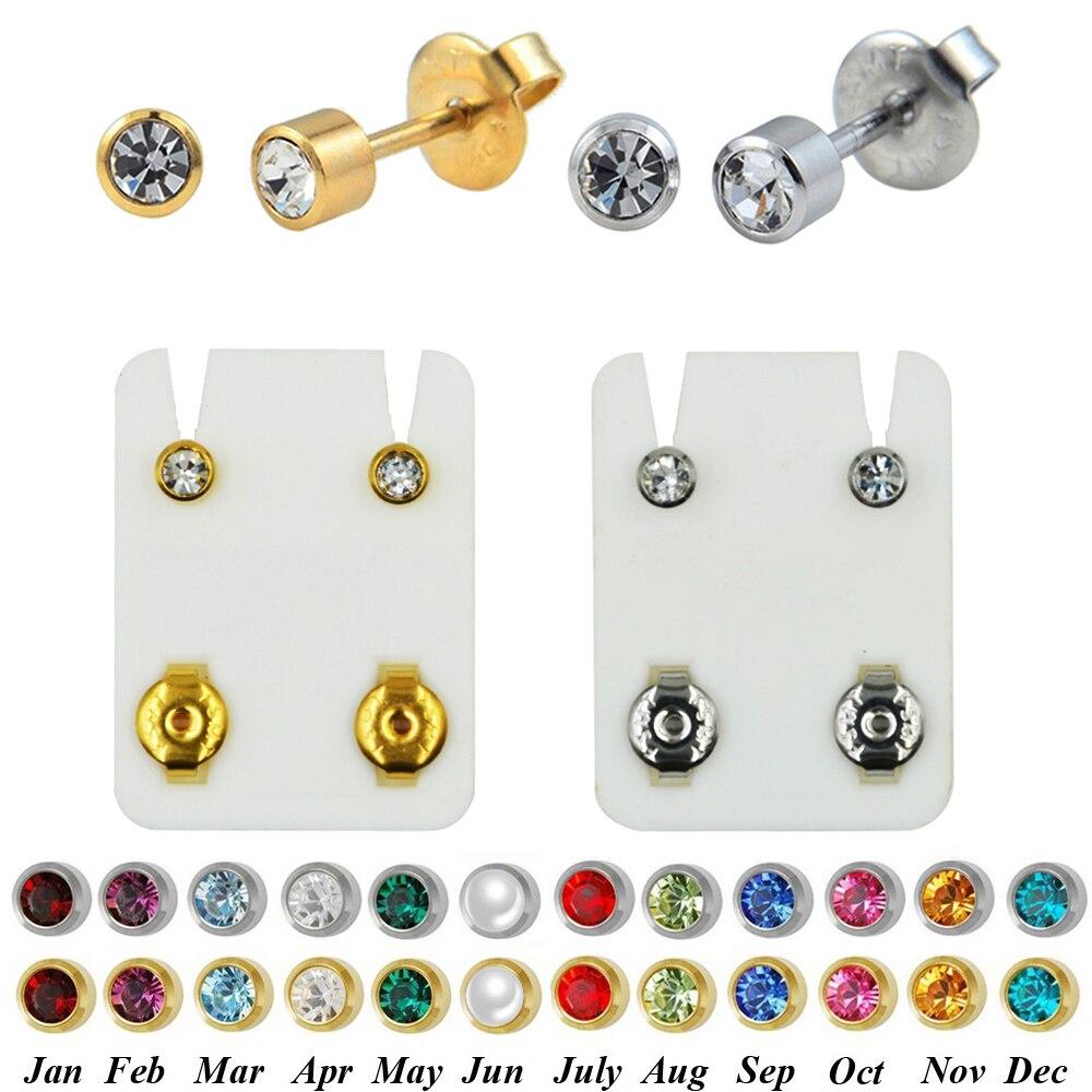 Пара 24-каратного золота, свой камень цирконий, драгоценный камень, Спиральные серьги ушной хрящ, серьги-пушки, профессиональные серьги для пирсинга