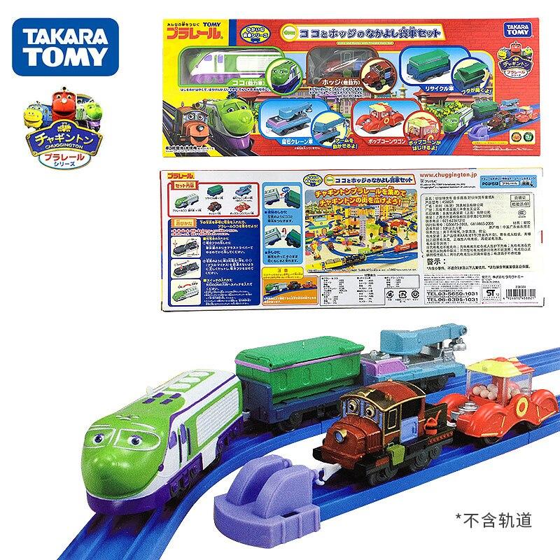 Takara Tomy Plarail Chuggington Koko y Hodge con coches de carga, juego de 5 trenes, modelo de tren motorizado