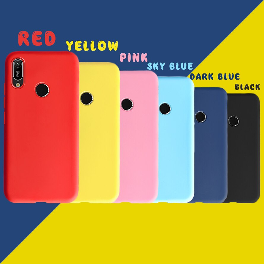 Funda de la suerte para Huawei Y6 2019 MRD-LX1 MRD-LX1F con huella digital Color TPU suave y ultradelgado Color caramelo para Huawei Y6 Prime Fundas