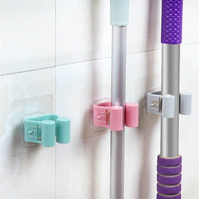 1 Uds. Estante de almacenamiento antideslizante para baño y cocina soporte de almacenamiento con gancho montado en la Pared Soporte de escoba sin rastro multifuncional soporte para mopa