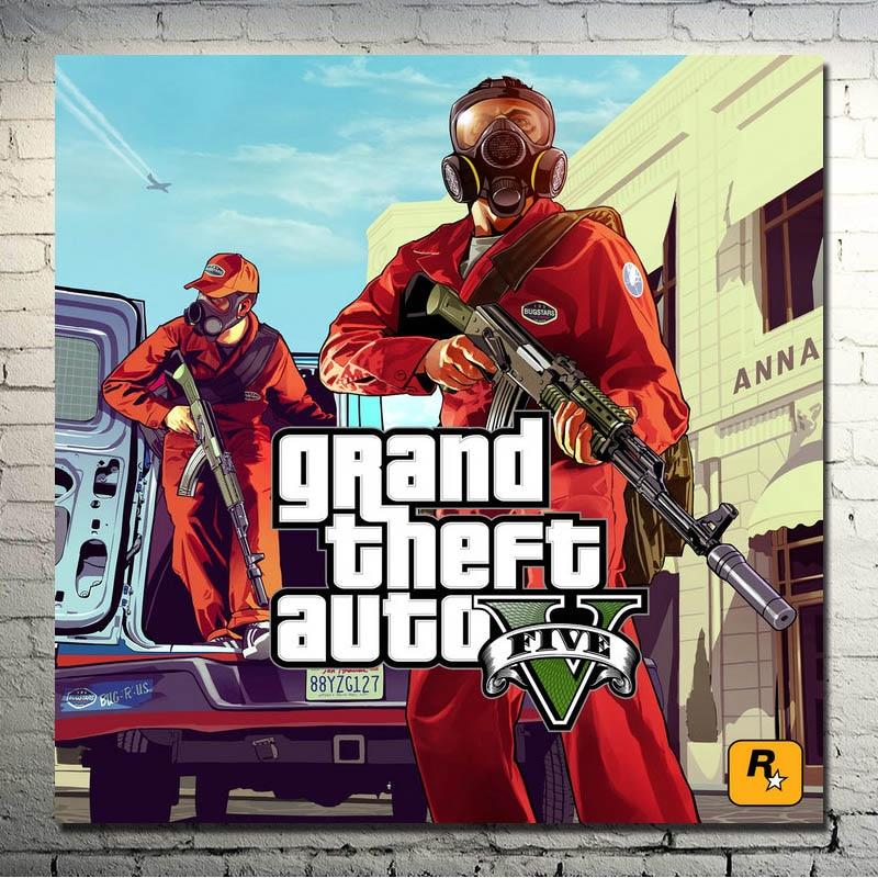 Grand Theft Auto V video oyunu GTA 5 Sanat İpek Kumaş Poster Baskı 13x13 32x32 inç Duvar resimleri Için Oturma Odası 008