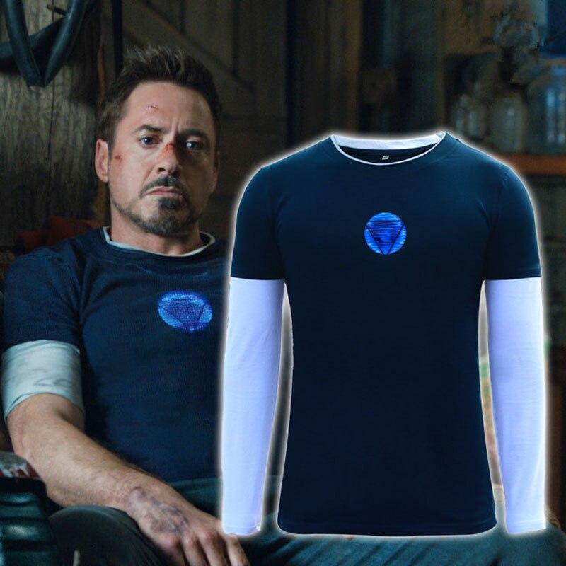 2019 nueva camiseta de manga larga Iron Man 3 cosplay Battle Suit Tony Stark Ironman película camisa de manga larga Tee Costumes tamaño XS-4XL