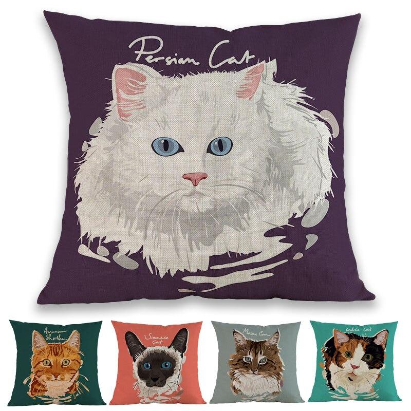 Siameses Scottish Fold ocelote Maine Coon Popular famoso lindo Animal gatito gato funda de almohada de Casa sofá decoración funda de cojín